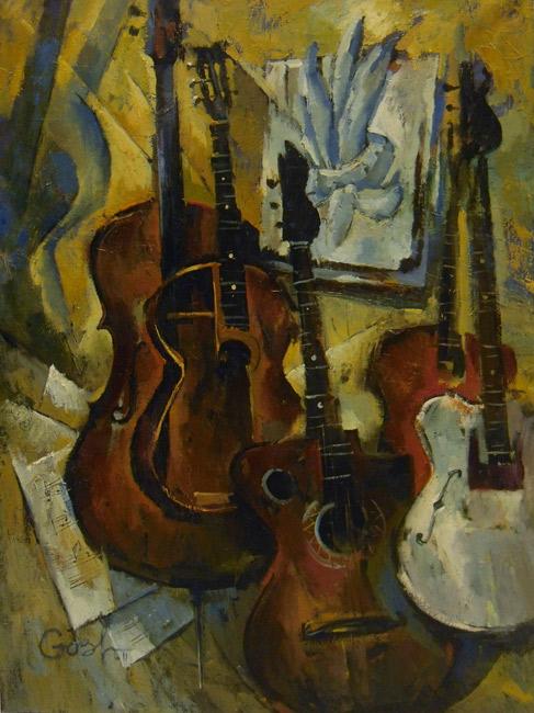 Игорь Володькин, «Натюрморт с гитарами», холст, масло, 80х60см, 2013