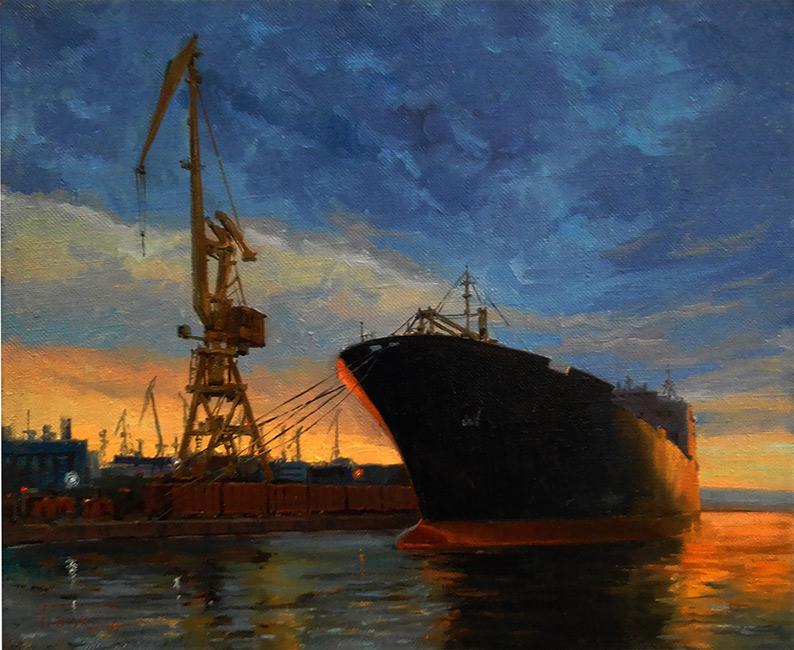 Игорь Володькин, «Пароход», холст, масло, 45х50см, 2016