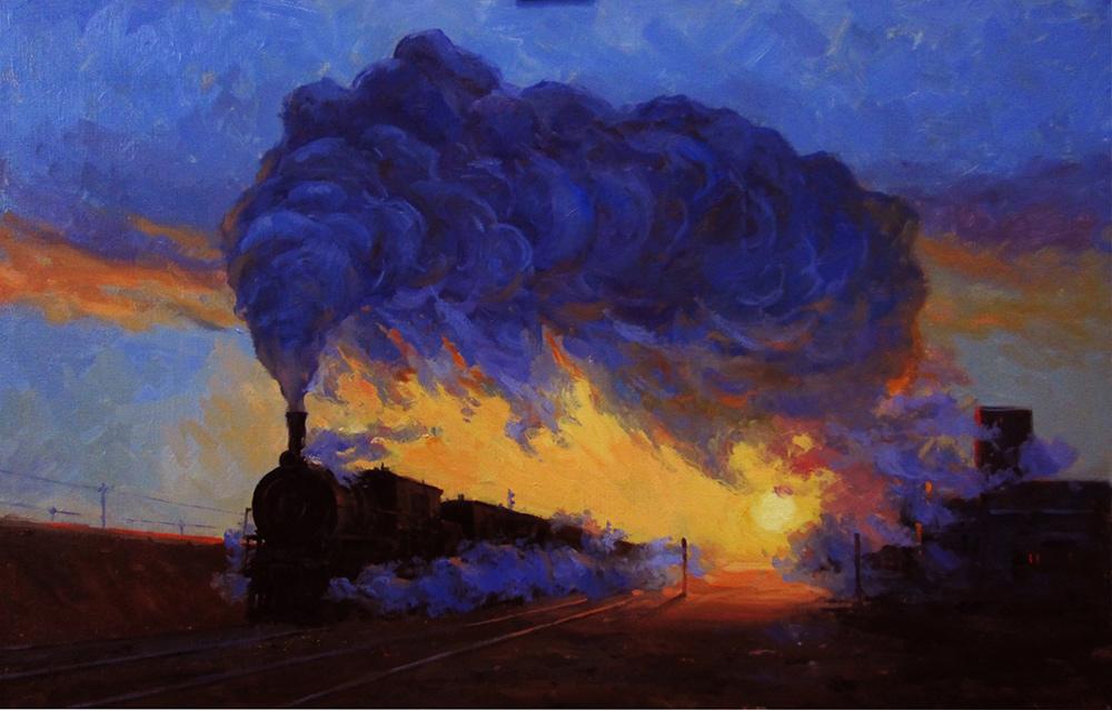 Игорь Володькин, «Паровозная песня», холст, масло, 45х70, 2015