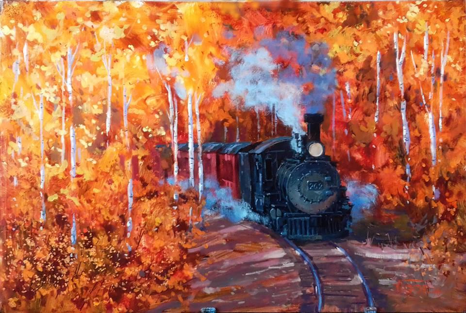 Картина Игоря Володькина «Осенний поезд»