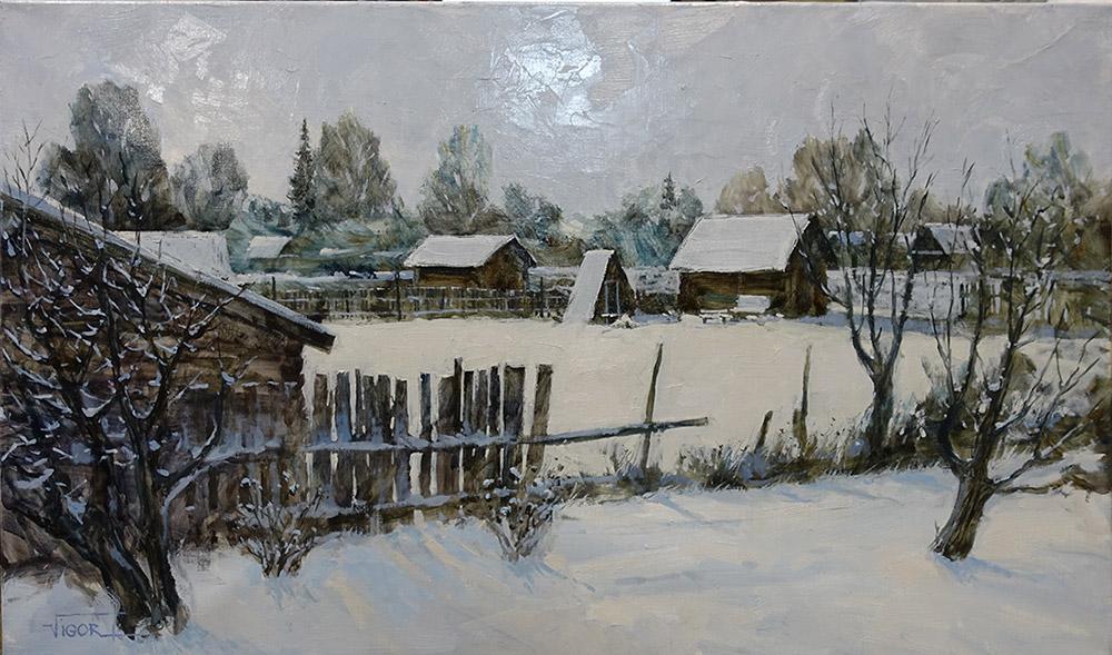 Игорь Володькин, «Русская зима», холст, масло, 60х100см, 2017