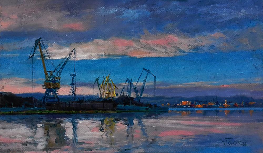 Игорь Володькин, «В порту», холст, масло, 30х50см, 2016