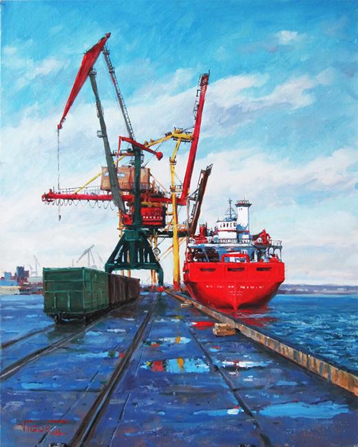 Игорь Володькин, «В порту», холст, масло, 50х40см, 2016