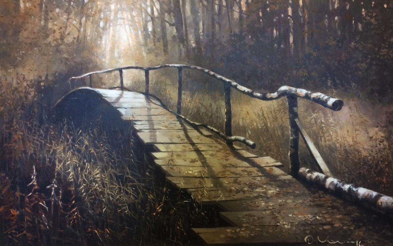 """Картина маслом на продажу. """"Лесной мостик"""", Дмитрий Козлов, холст, масло."""